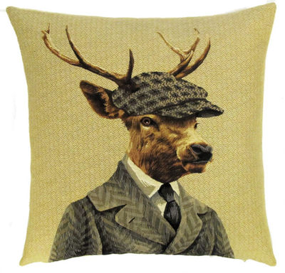 DEER WITH FRENCH BERET PARIS FASHION Belgian Tapestry Throw Pillow Cases - Decorative 18 X 18 Square Pillow Covers - Zippered Throw Pillow Case - Jacquard Woven Belgium Tapestry Cushion Covers - Fun Forest Animals Throw Cushions - Mountain House Forest Deer Stag Gentleman Paris Home Decor Gifts