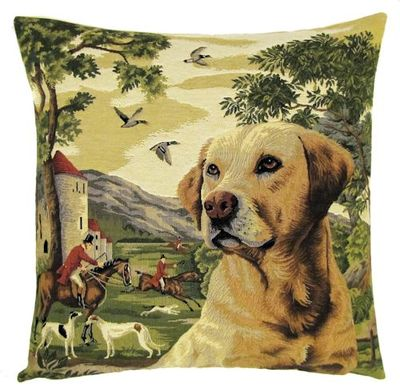 DOG YELLOW LABRADOR FOREST FOX HUNTER Belgian Tapestry Throw Pillow Cases - Decorative 18 X 18 Square Pillow Covers - Zippered Throw Pillow Case - Jacquard Woven Belgium Tapestry Cushion Covers - Fun Dressed Dog Throw Cushions - Dog Lover Gift - Labrador Hunter Castle Medieval Renaissance Home Decor Gifts