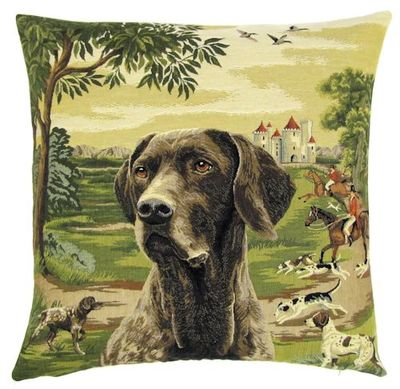 DOG BLACK LABRADOR FOREST FOX HUNTER Belgian Tapestry Throw Pillow Cases - Decorative 18 X 18 Square Pillow Covers - Zippered Throw Pillow Case - Jacquard Woven Belgium Tapestry Cushion Covers - Fun Dressed Dog Throw Cushions - Dog Lover Gift - Labrador Hunter Castle Medieval Renaissance Home Decor Gifts