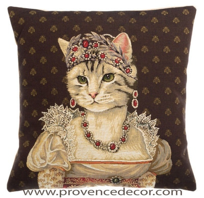 "The CAT PRINCESS JOSEPHINE CHARLOTTE OF BELGIUM  Tapestry Cushion Cover is a characterization of Princess Josephine Charlotte of Belgium. It is the authentic GOBELIN Tapestry woven with 100% high quality cotton, lined with a soft beige velvet backing and close with a zipper. Size: 18"" X 18"""