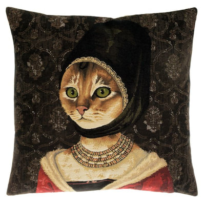 "The PORTRAIT OF A YOUNG CAT European Gobelin Jacquard Tapestry Cushion Cover is a characterization of the painting ""Portrait of a Young Woman"" by Petrus Christus. It  is  woven with 100% high quality cotton, lined with a soft beige velvet backing and close with a zipper. Size: 18"" X 18"""