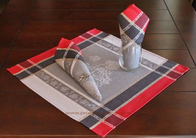 GRAPE GRAY RED French Provence Jacquard Woven Cotton Napkins Set - Table Decor - French Home Decor