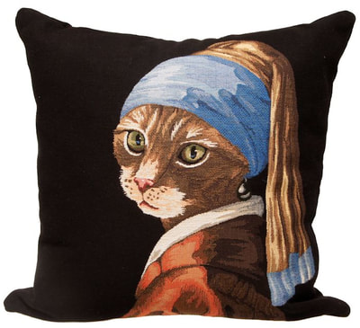 "The ""Cat with a Pearl Earring"" Tapestry Cushion Cover is a characterization of the painting ""Girl with a Pearl Earring"" by Johannes Vermeer. It is woven with 100% high quality cotton, lined with a soft beige velvet backing and close with a zipper. Size: 18"" X 18"""