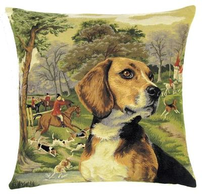 DOG BEAGLE FOX HUNTER Belgian Tapestry Throw Pillow Cases - Decorative 18 X 18 Square Pillow Covers - Zippered Throw Pillow Case - Jacquard Woven Belgium Tapestry Cushion Covers - Fun Dressed Dog Throw Cushions - Dog Lover Gift - Beagle Hunter Castle Medieval Renaissance Home Decor Gifts