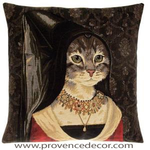 "The CAT TRUE LOVE Tapestry Cushion Cover is a characterization of the Portrait ""Diptych with the Allegory of True Love"" by Hans Memling. These gorgeous Jacquard Tapestry Throw Pillow Cases are the authentic GOBELIN Tapestry woven with 100% high quality cotton, lined with a soft beige velvet backing and close with a zipper. Size: 18"" X 18"""