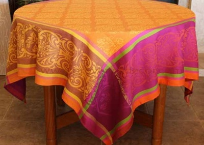 RENAISSANCE ORANGE Jacquard Woven Teflon Cotton Coated French Tablecloths - Easy Clean Elegant Modern French Party Table Decor - French Home Decor Gifts