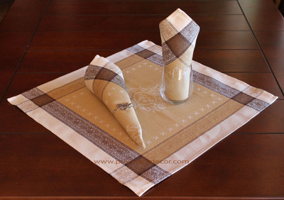 ELEGANCE BEIGE French Provence Jacquard Woven Cotton Napkins Set - Table Decor - French Home Decor