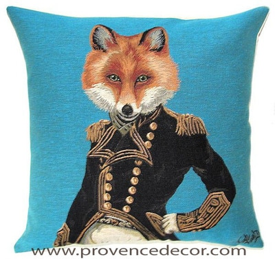 "ARISTO FOX Tapestry Pillow Covers are woven on a Jacquard loom (crafted with true traditional tapestry technique) with 100% high quality cotton thread, lined with a plain beige cotton backing and close with a zipper. Size: 18"" X 18"""