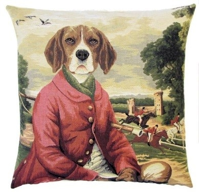 BEAGLE FOX GOOSE HUNTER RED Authentic European Tapestry Throw Pillow Case - Beagle Dog Lovers Fox Goose Hunter Decorative Pillow Covers - Fun Dressed Dogs Cushion Covers - Dog Art - Dog Home Decor Gifts