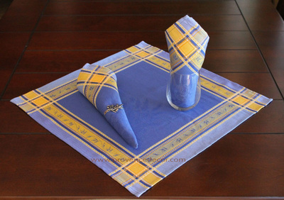 LAVENDER BLUE French Provence Jacquard Woven Cotton Napkins Set - Table Decor - French Home Decor