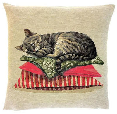 "LAZY SILVER CAT European Tapestry Cushion Cover is part of a collection of Three Portrait cushions: ""The Life of a Cat"".  These gorgeous Jacquard Tapestry Throw Pillow Cases are woven with 100% high quality cotton, lined with a plain beige cotton backing and close with a zipper. Size: 18"" X 18"""