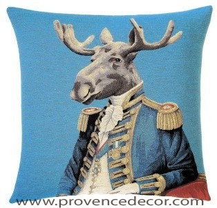 "ARISTO MOOSE Tapestry Pillow Covers are woven on a Jacquard loom (crafted with true traditional tapestry technique) with 100% high quality cotton thread, lined with a plain beige cotton backing and close with a zipper. Size: 18"" X 18"""