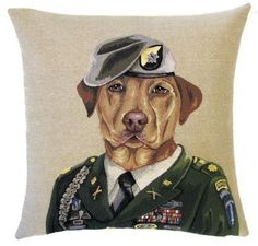 "DOG LABRADOR RANGER Tapestry Pillow Covers are woven on a Jacquard loom (crafted with true traditional tapestry technique) with 100% high quality cotton thread, lined with a plain beige cotton backing and close with a zipper. Size: 18"" X 18"""