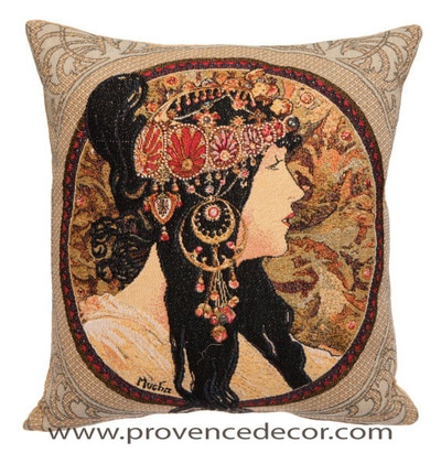 "The BYZANTINE BRUNETTE  Tapestry Cushion is a replica of Alphonse Mucha's famous artwork in Tapestry. The details are exquisite, looks like a real painting. These gorgeous Jacquard Tapestry Throw Pillow Cases are the authentic GOBELIN Tapestry woven with 100% high quality cotton, lined with a soft beige velvet backing and close with a zipper. Size: 18"" X 18"""