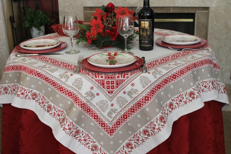 SAMOENS Christmas Jacquard Woven Tapestry Tablecloths - Elegant Rectangle Tablecloth - Square Table Topper Couch Throw - French Home Decor