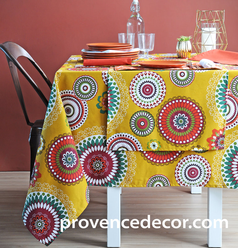 PARTY TIME YELLOW Acrylic Cotton Coated French Provence Table cloths - French Oil cloth Spill Proof Easy Wipe Off Party Tablecloths - Fun Party Lovers Indoor Outdoor Entertaining Table Decor - Elegant Party Decor Gifts
