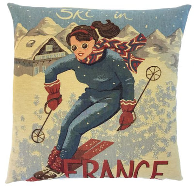 "This SKI THE ALPS FRANCE Tapestry Pillow Cover is woven on a Jacquard loom (crafted with true traditional tapestry technique) with 100% high quality cotton thread, lined with a plain beige cotton backing and closes with a zipper. Size: 18"" X 18"""