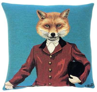 LORD FOX WITH HAT BLUE Jacquard Woven European Belgian Tapestry Throw Pillow Cases - Decorative Pillow Covers - Zippered Throw Pillow Case - Fun Fox Lovers Throw Cushion Covers - Forest Animal Lovers Gift - Gifts Home Decor