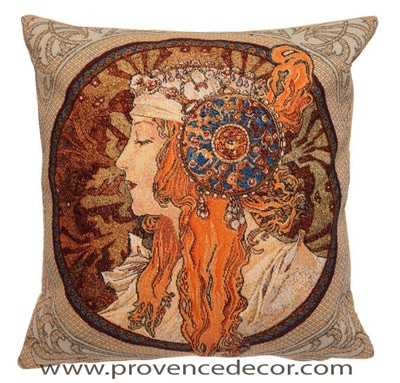 "The BYZANTINE BLONDE  Tapestry Cushion is a replica of Alphonse Mucha's famous artwork in Tapestry. The details are exquisite, looks like a real painting. These gorgeous Jacquard Tapestry Throw Pillow Cases are the authentic GOBELIN Tapestry woven with 100% high quality cotton, lined with a soft beige velvet backing and close with a zipper. Size: 18"" X 18"""