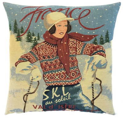 "This SKI VAL D'ISERE FRANCE Tapestry Pillow Cover is woven on a Jacquard loom (crafted with true traditional tapestry technique) with 100% high quality cotton thread, lined with a plain beige cotton backing and closes with a zipper. Size: 18"" X 18"""