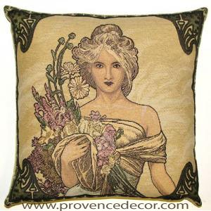 "The SPRING Tapestry Cushion is a replica of Alphonse Mucha's famous artwork in Tapestry. The details are exquisite, looks like a real painting. These gorgeous Jacquard Tapestry Throw Pillow Cases are the authentic GOBELIN Tapestry woven with 100% high quality cotton, lined with a soft beige velvet backing and close with a zipper. Size: 18"" X 18"""
