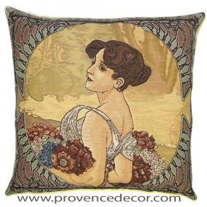 "The SUMMER Tapestry Cushion is a replica of Alphonse Mucha's famous artwork in Tapestry. The details are exquisite, looks like a real painting.​ These gorgeous Jacquard Tapestry Throw Pillow Cases are the authentic GOBELIN Tapestry woven with 100% high quality cotton, lined with a soft beige velvet backing and close with a zipper. Size: 18"" X 18"""