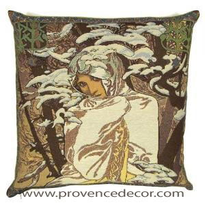 "The WINTER Tapestry Cushion is a replica of Alphonse Mucha's famous artwork in Tapestry. The details are exquisite, looks like a real painting. These gorgeous Jacquard Tapestry Throw Pillow Cases are the authentic GOBELIN Tapestry woven with 100% high quality cotton, lined with a soft beige velvet backing and close with a zipper. Size: 18"" X 18"""