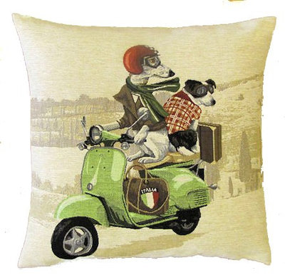 DOGS WHIPPET AND JACK RUSSELL ON GREEN VESPA - SCOOTER European Belgian Tapestry Throw Pillow Cases - Decorative 18 X 18 Pillow Covers - Zippered Throw Pillow Case - Jacquard Woven Belgium Tapestry Cushion Covers - Fun Dressed Dog Throw Cushions - Dog Lover Gift - Antique Classic Motorcycles Home Decor