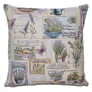 FRENCH LAVENDER Belgian Tapestry Throw Pillow Cases - Decorative 18 X 18 Square Pillow Covers - Zippered Throw Pillow Case - Jacquard Woven Belgium Tapestry Cushion Covers - Floral Lavender Butterfly Reversible Throw Cushions - Elegant Home Decor Gifts