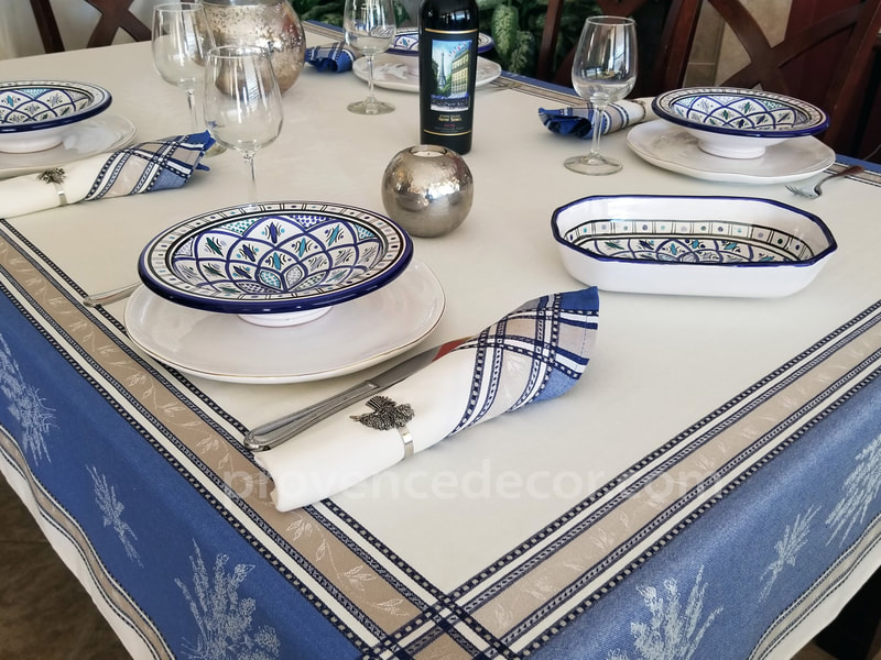 Provence Decor - French Jacquard Woven Teflon Cotton Coated French Provence Tablecloth