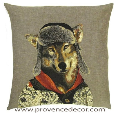 MOUNTAIN WOLF Belgian Tapestry Throw Pillow Cases - Decorative 18 X 18 Square Pillow Covers - Zippered Throw Pillow Case - Jacquard Woven Belgium Tapestry Cushion Covers - Fun Forest Animals Throw Cushions - Mountain House Forest Wolf Home Decor Gifts