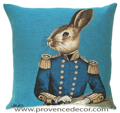 "ARISTO RABBIT Tapestry Pillow Covers are woven on a Jacquard loom (crafted with true traditional tapestry technique) with 100% high quality cotton thread, lined with a plain beige cotton backing and close with a zipper. Size: 18"" X 18"""