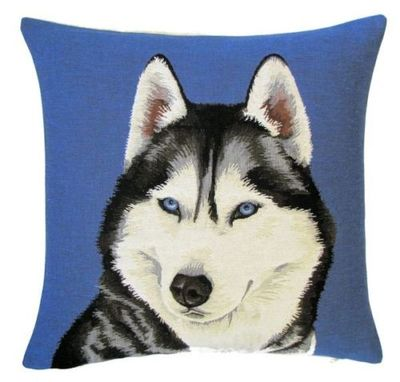 "DOG SIBERIAN HUSKY PORTRAIT FRONT Tapestry Pillow Covers are woven on a Jacquard loom (crafted with true traditional tapestry technique) with 100% high quality cotton thread, lined with a plain beige cotton backing and close with a zipper. Size: 18"" X 18"""
