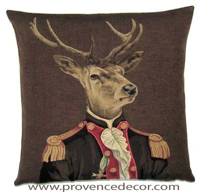 "ARISTO DEER IN BROWN SUIT Tapestry Pillow Covers are woven on a Jacquard loom (crafted with true traditional tapestry technique) with 100% high quality cotton thread, lined with a plain beige cotton backing and close with a zipper. Size: 18"" X 18"""