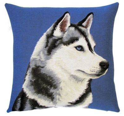 "DOG SIBERIAN HUSKY PORTRAIT SIDE Tapestry Pillow Covers are woven on a Jacquard loom (crafted with true traditional tapestry technique) with 100% high quality cotton thread, lined with a plain beige cotton backing and close with a zipper. Size: 18"" X 18"""