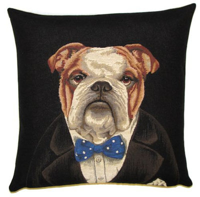 DOG BULLDOG WINSTON CHURCHILL IN SUIT - Belgian Tapestry Throw Pillow Cases - Decorative 18 X 18 Square Pillow Covers - Zippered Throw Pillow Case - Jacquard Woven Belgium Tapestry Cushion Covers - Fun Dressed Dog Throw Cushions - Dog Lover Gift - Bulldog Home Decor Gifts