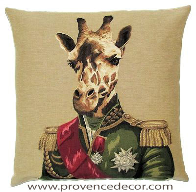 "ARISTO GIRAFFE Tapestry Pillow Covers are woven on a Jacquard loom (crafted with true traditional tapestry technique) with 100% high quality cotton thread, lined with a plain beige cotton backing and close with a zipper. Size: 18"" X 18"""