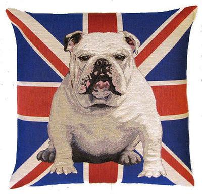 DOG ENGLISH BULLDOG WHITE UNION JACK FLAG Authentic European Belgian Tapestry Throw Pillow Cases - Decorative Pillow Covers - Zippered Throw Pillow Case - Bulldog Lovers Gift - Fun Dogs Cushion Covers - Dog Art - Dog Home Decor Gifts