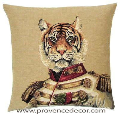 "ARISTO TIGER Tapestry Pillow Covers are woven on a Jacquard loom (crafted with true traditional tapestry technique) with 100% high quality cotton thread, lined with a plain beige cotton backing and close with a zipper. Size: 18"" X 18"""