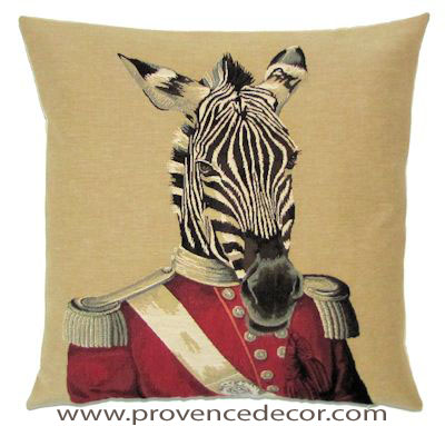 "ARISTO ZEBRA Tapestry Pillow Covers are woven on a Jacquard loom (crafted with true traditional tapestry technique) with 100% high quality cotton thread, lined with a plain beige cotton backing and close with a zipper. Size: 18"" X 18"""