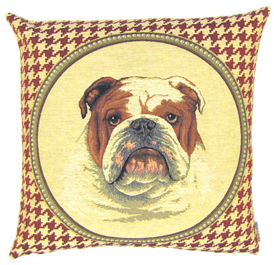 "DOG FASHION ENGLISH BULLDOG RED Tapestry Pillow Covers are woven on a Jacquard loom (crafted with true traditional tapestry technique) with 100% high quality cotton thread, lined with a plain beige cotton backing and close with a zipper. Size: 18"" X 18"""