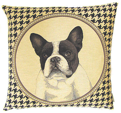 "DOG FASHION BOSTON TERRIER BLACK Tapestry Pillow Covers are woven on a Jacquard loom (crafted with true traditional tapestry technique) with 100% high quality cotton thread, lined with a plain beige cotton backing and close with a zipper. Size: 18"" X 18"""