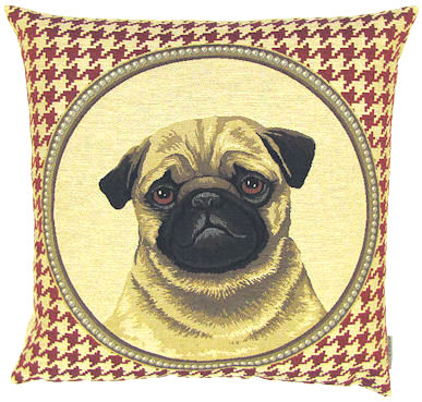 "DOG FASHION PUG RED Tapestry Pillow Covers are woven on a Jacquard loom (crafted with true traditional tapestry technique) with 100% high quality cotton thread, lined with a plain beige cotton backing and close with a zipper. Size: 18"" X 18"""