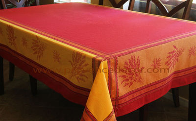 LAVENDER RED YELLOW Jacquard Woven Teflon Cotton Coated French Tablecloths - Easy Clean Elegant Party Table Decor - French Country Home Decor Gifts