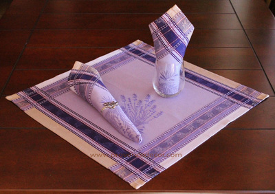 LAVENDER PURPLE French Provence Jacquard Woven Cotton Napkins Set - Table Decor - French Home Decor