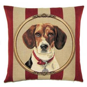 DOG BEAGLE PORTRAIT Belgian Tapestry Throw Pillow Cases - Decorative 18 X 18 Square Pillow Covers - Zippered Throw Pillow Case - Jacquard Woven Belgium Tapestry Cushion Covers - Fun Dressed Dog Throw Cushions - Dog Lover Gift - Beagle Home Decor Gifts