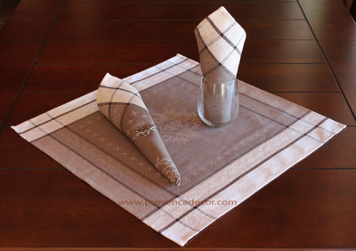 ELEGANCE TAUPE French Provence Jacquard Woven Cotton Napkins Set - Table Decor - French Home Decor