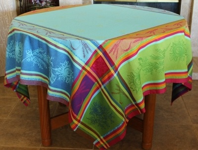 Provence Décor offers this high quality luxury collection of Jacquard Woven Teflon tablecloths. They are made with double woven 100% cotton and have a Teflon coating to protect from stain but also keeping the soft feel of a cotton.