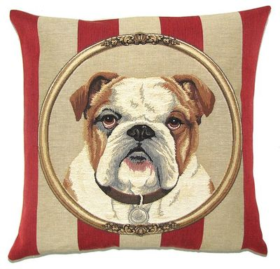 DOG ENGLISH BULLDOG PORTRAIT Belgian Tapestry Throw Pillow Cases - Decorative 18 X 18 Square Pillow Covers - Zippered Throw Pillow Case - Jacquard Woven Belgium Tapestry Cushion Covers - Fun Dressed Dog Throw Cushions - Dog Lover Gift - English Bulldog Home Decor Gifts