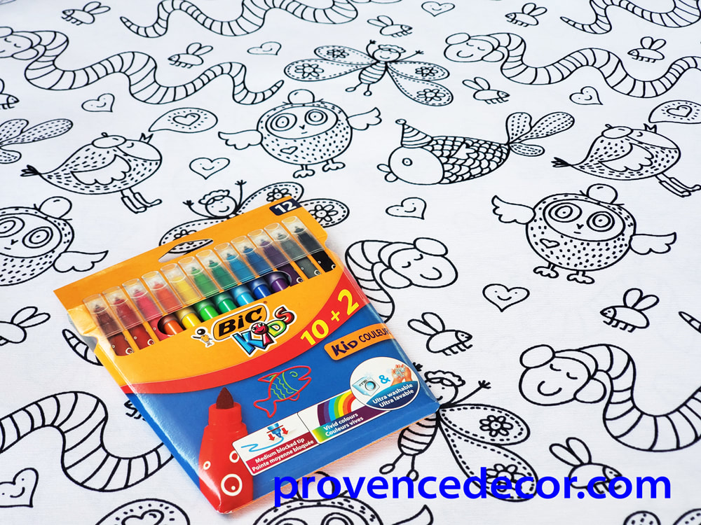 COOL ANIMALS COLOR AND WASH TABLE CLOTH - Washable Coloring Kids Party Table Cover - Animal Lovers, Children, Girls and Boys Entertaining Decorative Party Table Decor Gifts